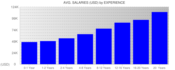 Average Salaryies By Experience For United States