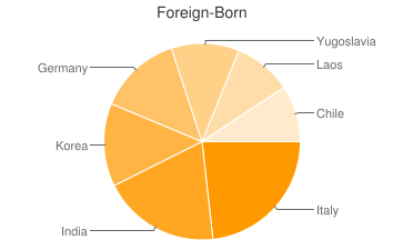Most Common Foreign Birthplaces in Tallmadge
