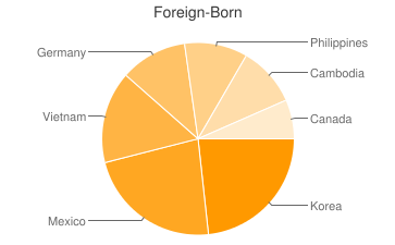 Most Common Foreign Birthplaces in Tacoma