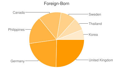 Most Common Foreign Birthplaces in Bethel