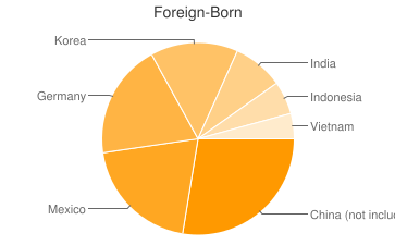 Most Common Foreign Birthplaces in Manhattan