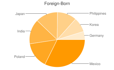 Most Common Foreign Birthplaces in60005
