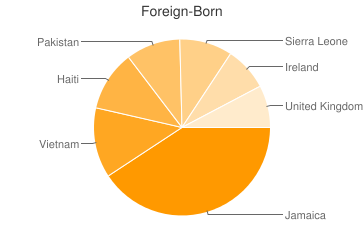 Most Common Foreign Birthplaces in Lansdowne
