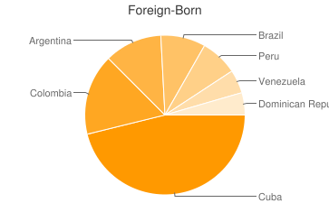 Most Common Foreign Birthplaces in Miami Beach
