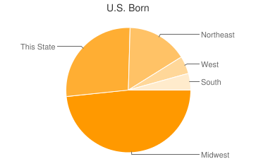 Most Common US Birthplaces in Jamestown