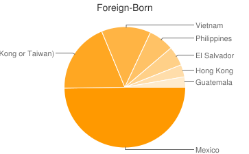 Most Common Foreign Birthplaces in Oakland