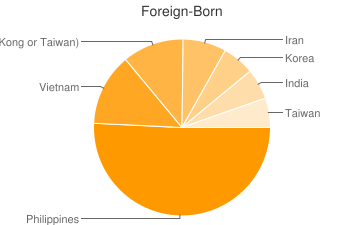 Most Common Foreign Birthplaces in92129