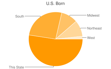 Most Common US Birthplaces in Avondale Estates