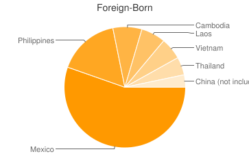 Most Common Foreign Birthplaces in Stockton