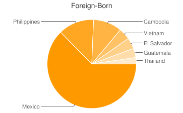Most Common Foreign Birthplaces in Long Beach