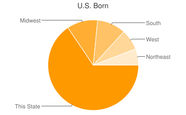 Most Common US Birthplaces in Austin