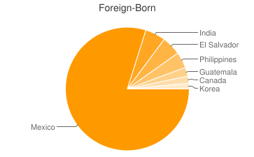 Most Common Foreign Birthplaces in Bakersfield