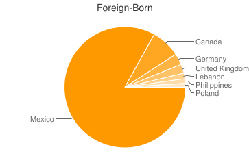 Most Common Foreign Birthplaces in Cottonwood