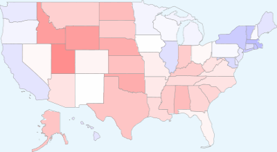 This map of the 2004 election results is not the type youve seen everywhere: the country is not artificially divided up between blue and red states. Instead, it shows the degrees in between. A state where Bush won 100% would be fiery red, a state where Kerry won every vote would be the coolest blue, and a state where the vote was divided equally is white.