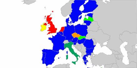 Карта на Европейския съюз според датата на изборите за Европейски парламент