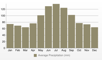 Zurich Average Precipitation (mm)