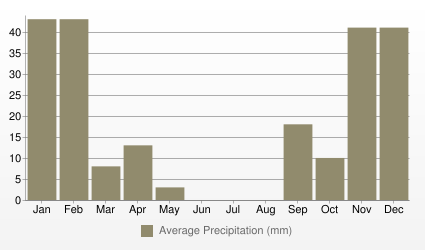 Damascus Average Precipitation (mm)
