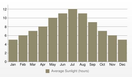 Tunis Average Sunlight (hours)