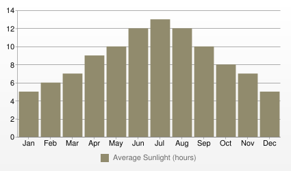 Damascus Average Sunlight (hours)