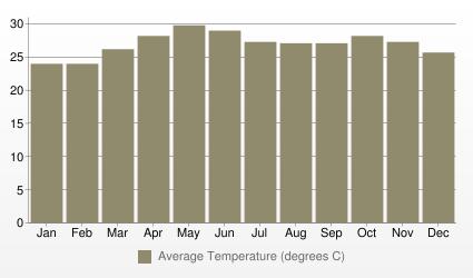 Mumbai (Bombay) Average Temperature (degrees C)