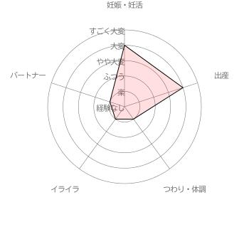葉酸サプリ ベルタ葉酸サプリ利用者( 30代前半女性 妊娠8ヵ月)による妊活・妊娠~出産の苦労レベル5段階評価(2016年6月30日 当サイト独自調査結果による)