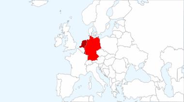 Europakarte:Hervorgehoben Deutschland, Holland, Luxenburg