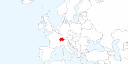 Europakarte: Hervorgehoben die Schweiz
