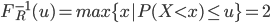 \begin{eqnarray}         F_{R}^{-1}(u)=max\{x|P(X{<}x){\leq}u\}=2     \end{eqnarray}