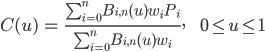 <br /> \begin{array}{lll}<br />   C(u) &amp;=&amp; \frac{ \sum_{i=0}^{n} B_{i,n}(u) w_i P_i }{ \sum_{i=0}^{n} B_{i,n}(u) w_i },&amp;&amp; 0 \leq u \leq 1<br /> \end{array}<br />