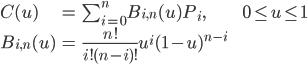 <br /> \begin{array}{lll}<br />   C(u) &amp;=&amp; \sum_{i=0}^{n} B_{i,n}(u) P_i,&amp;&amp; 0 \leq u \leq 1 \\<br />   B_{i,n}(u) &amp;=&amp; \frac{n!}{i!(n-i)!} u^i (1-u)^{n-i} &amp;&amp;<br /> \end{array}<br />