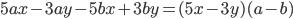 5ax-3ay-5bx+3by=(5x-3y)(a-b)