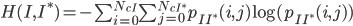 H({I,I^*})=-\sum_{i=0}^{N_{cI}} \sum_{j=0}^{N_{cI^*}} p_{{II^*}}(i,j) \log (p_{{II^*}}(i,j))