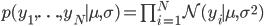 p(y_1, \ldots, y_N \mid \mu, \sigma) = \prod_{i = 1}^{N} \mathcal{N}(y_i\mid \mu, \sigma^2)