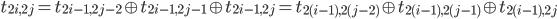 t _ {2i, 2j} = t _ {2i - 1, 2j-2} \oplus t _ {2i - 1, 2j-1} \oplus t _ {2i - 1, 2j} = t _ {2(i-1), 2(j-2)} \oplus t _ {2(i-1), 2(j-1)} \oplus t _ {2(i-1), 2j}