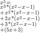 x^5=\\ x^3*(x^2-x-1)\\  +x^2*(x^2-x-1)\\  +2x*(x^2-x-1)\\  +3*(x^2-x-1)\\  +(5x+3)