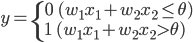 y = \begin{cases} 0 \ \ (w_1 x_1 + w_2 x_2 \leq \theta) \\ 1 \ \ (w_1 x_1 + w_2 x_2 \gt \theta) \\ \end{cases}
