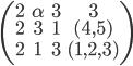 \left(  \begin{array}{cccc}   2 & \alpha & 3 & 3 \\   2 & 3 & 1 & (4,5) \\   2 & 1 & 3 & (1,2,3) \\ \end{array} \right)