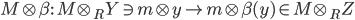 \displaystyle{ M \otimes \beta :\ M \otimes_R Y \ni m \otimes y \to m \otimes \beta(y) \in M \otimes_R Z }