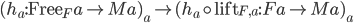 ( h _ a : \mathtt{Free} _F a \rightarrow Ma ) _ a \mapsto ( h _ a \circ \mathtt{lift} _ {F, a} : Fa \rightarrow Ma ) _ a