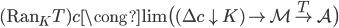 (\text{Ran} _ K T)c \cong \lim \big( (\Delta c \downarrow K) \to \mathcal{M} \overset{T}{\to} \mathcal{A} \big)