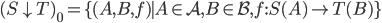 (S \downarrow T)_0 = \lbrace (A, B, f) \mid A \in \mathcal{A}, B \in \mathcal{B}, f : S(A) \rightarrow T(B) \rbrace