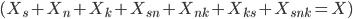 (X_s + X_n + X_k + X_{sn} + X_{nk} + X_{ks} + X_{snk} = X)