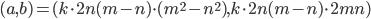 (a,b)=(k\cdot 2n(m-n)\cdot (m^2-n^2),k\cdot 2n(m-n)\cdot 2mn)