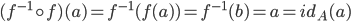 (f^{-1} \circ f)(a) = f^{-1}(f(a))=f^{-1}(b)=a=id_A(a)