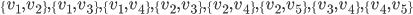 \{v_1, v_2\}, \{v_1, v_3\}, \{v_1, v_4\}, \{v_2, v_3\}, \{v_2, v_4\},\{v_2, v_5\}, \{v_3, v_4\}, \{v_4, v_5\}