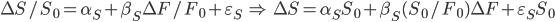 \Delta S/S_0 = \alpha_S + \beta_S \Delta F /F_0 + \varepsilon_S \; \Rightarrow \; \Delta S = \alpha_S S_0 + \beta_S (S_0 /F_0) \Delta F + \varepsilon_S S_0