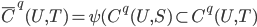 \bar{ C}^q(U,T) =\psi(C^q(U,S) \subset C^q(U,T) }