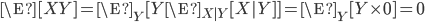 \begin{align} \E[XY]  = \E_Y [ Y \E_{X|Y} [X | Y] ] = \E_Y [Y \times 0 ] = 0\end{align}
