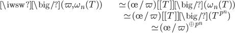 \begin{align} \iwsw \big/ (\varpi, \omega_n(T)) &\simeq (\o / \varpi)[[T]] \big/ (\omega_n(T)) \\ &\simeq (\o / \varpi)[[T]] \big/ (T^{p^n}) \\ &\simeq  (\o/\varpi)^{\oplus p^n} \end{align}