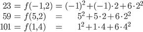 \begin{eqnarray} 23 &=& f(-1, 2) &=& (-1)^2 + (-1)\cdot 2 + 6\cdot 2^2 \\  59 &=& f(5, 2) &=& 5^2 + 5\cdot 2 + 6\cdot 2^2 \\  101 &=& f(1, 4) &=& 1^2 + 1\cdot 4 + 6\cdot 4^2 \end{eqnarray}